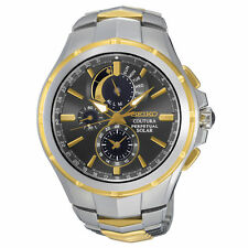 New Seiko SSC376 Solar Coutura Chronograph Two Tone Stainless Steel Men's Watch