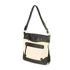 Peru Black Faux Leather and Burlap Messenger Bag - NWT