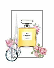 CHANEL NO 5 PERFUME FLOWER WATERCOLOUR ART IMAGE A4 Poster Gloss Print Laminated