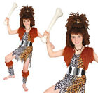 Childrens Cavegirl Fancy Dress Costume & Wig Girls Stoneage Outfit 3-13 Yrs
