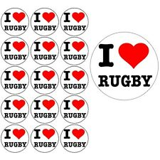 I LOVE RUGBY 15x4cm PREMIUM EDIBLE Rice Paper Cake Toppers world cup six nations