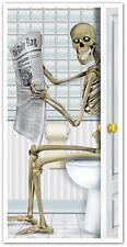 RESTROOM DOOR COVER Skeleton Bathroom Halloween Party Decoration Scene Decor