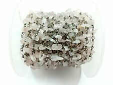 3 Feet Rose Quartz Chips Freeform Rosary Beaded Chain Black Plated Wire 3-5mm