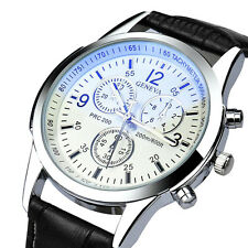 Geneva Mens Quartz Sport Watch Stainless Steel Leather Fashion Wrist Watches