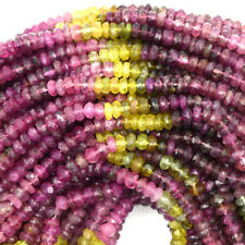 "3mm faceted watermelon tourmaline rondelle beads 15"" strand S2"