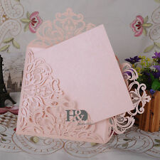 12 PCS Beige Pink Laser Cut Wedding Invitation Cards Blank Inner Party Birthday