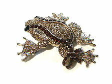 Bijou alliage doré broche grenouille cristal multicolore brooch