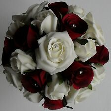 Brides Bridesmaids Crystal Diamante Wedding Red Silk Rose Ivory Flower Bouquet