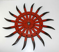 "Vintage Case JD Steel 20"" Spike Wheel Rotary Hoe Industrial Steampunk Garden Art"