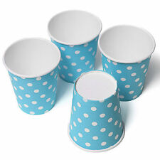 10 X Blue Disposable Polka Dots Paper Cups Birthday Party Beverage Tableware 9oz