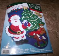 Design Works Felt Jewel Stocking Kit SANTA AND CHRISTMAS TREE  16""