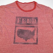 TARGET FEED PROJECT FEED USA RINGER TEE T SHIRT Sz Mens M Tri Blend Heather Red