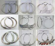 Wholesale Fashion Earring lots 9 pairs Silver Plated Hoop Earrings US-SELLER #J8