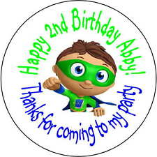 24 super why superwhy wyatt stickers Birthday Party 1.67 Inch Personalized
