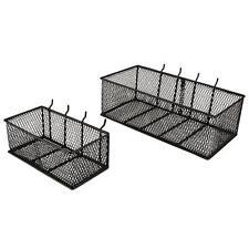 (2-Pack) Wall Peg Board Black Wire Mesh Baskets Kitchen Garage Storage Organizer