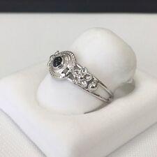 18 KWG 750 Italian Onyx White Gold Ring Florentine design Size 7