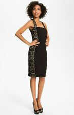 aidan mattox LACE PANEL BLACK/NUDE SHEATH DRESS sz  4