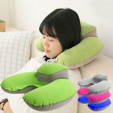 Green Inflatable U-Shape Compact Plane Fligt Travel Pillow Air Cushion Neck Rest