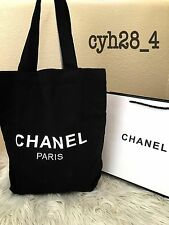 Chanel black canvas shopping tote VIP Gift bag USA Seller