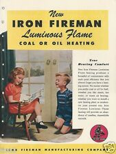 1946 IRON FIREMAN Flame Heating Boiler Stokers Burners ASBESTOS History Catalog