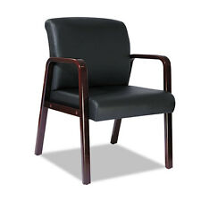Alera Reception Lounge Guest Chair, Mahogany Wood / Black Leather ALERL4319M