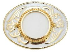"NEW! Western Silver Dollar Belt Buckle, Gold & White 3"" x 2-5/8"""