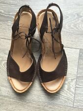 LADIES CLARKS BROWN LEATHER WEDGES / SANDALS WITH ANKLE TIE SZ 4.5 NEW
