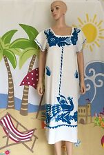 Huipil Style DRESS White And Turquoise Mexican Hand Embroidered MANTA One Size