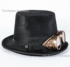 STEAMPUNK TOP HAT & BRASS STYLE GOGGLES HALLOWEEN GOTHIC COSPLAY VICTORIAN