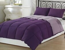 Chezmoi Collection 3pc Reversible Down Alternative Comforter Set Queen, Purple