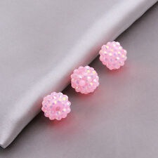 10pcs Hot Sale AB Pink Resin Rhinestones Ball Round Loose Spacer Charms Beads D