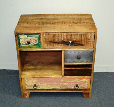 NEW Reclaimed Timber Distressed Metal Sideboard Cabinet Buffet Multi Color Retro