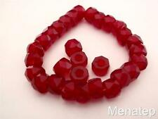 25 6 x 4mm Czech Glass Facetted Crow Beads: Ruby