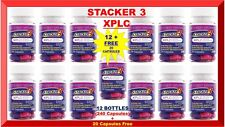 Stacker 3 XPLC Herbal Weight Loss 20 Capsules (Lot 12 X Bottles) = 240 + FREE 20