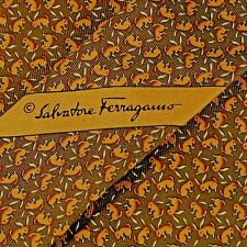 "Salvatore Ferragamo Italy 100% Silk Brown Rabbits Neck Tie 3 5/8"" W x 59"" L EXC"