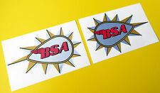 BSA teardrop tank logo stickers decals CAFE RACER metallic ink 1 pair