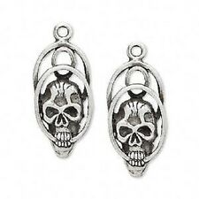 2532FD Charm, Antique Silver color Pewter, 26x13mm Skull  - 2 Qty