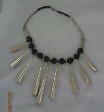 FUNKY VTG BOHO MODERNIST NECKLACE W/ BLACK  BEADS &  LONG SILVER CONE DANGLES