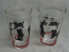 Scotty Scottie Dog Black Graphics  White And Red Lines Drinking Glass Set of Two
