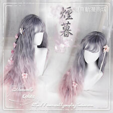 Japan Harajuku Sweet Lolita Gray+Pink Gradient Curly Cosplay New Daily Fairy Wig