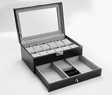 Autoark AW-001 Black Leather 12 Mens Watch Box with Jewelry Display Drawer NEW..