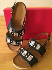 $150 KATE SPADE Blue Denim  Large Crystal Jeweled Fashion Sandals size 9,5 NWB