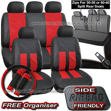 Black Red Leather Look Split Rear, Air Bag, Full Car Steering Seat Covers Alaska