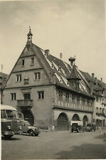 PHOTO ANCIENNE - VINTAGE SNAPSHOT - OBERNAI NID CIGOCNE 2CV BUS ALSACE -CAR BIRD