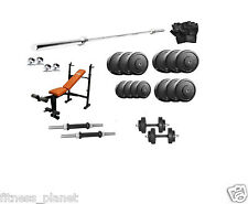 Gofit Home GymSet 8 in 1 Bench+100kg Rubber Plate +3ft Curl Rod +5ft Plain Rod
