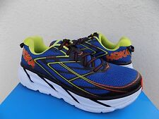 HOKA ONE ONE CLIFTON 3 BLUE/ RED ORANGE RUNNING SHOES, MENS US 8.5/ EUR 42