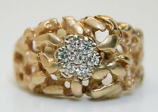 10K Solid Yellow Gold .25 TCW Diamond Nugget Style Men's Cluster Ring