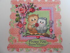 PK 2 PRETTY PINK CUTE OWLS EMBELLISHMENT TOPPERS FOR CARDS OR CRAFTS