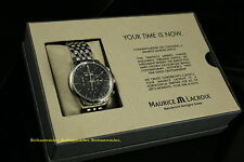 New Maurice Lacroix Les Classiques LC1008-SS002-330 Black Dial Chrono SS Watch