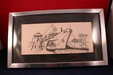 "Very Nice Vintage 8.5"" Sketch Reprint Merchant Ship Panama Canal Signed"